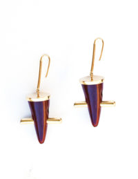 Red toggle earring